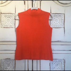 St John Collection Orange  Sleeveless Sweater Top